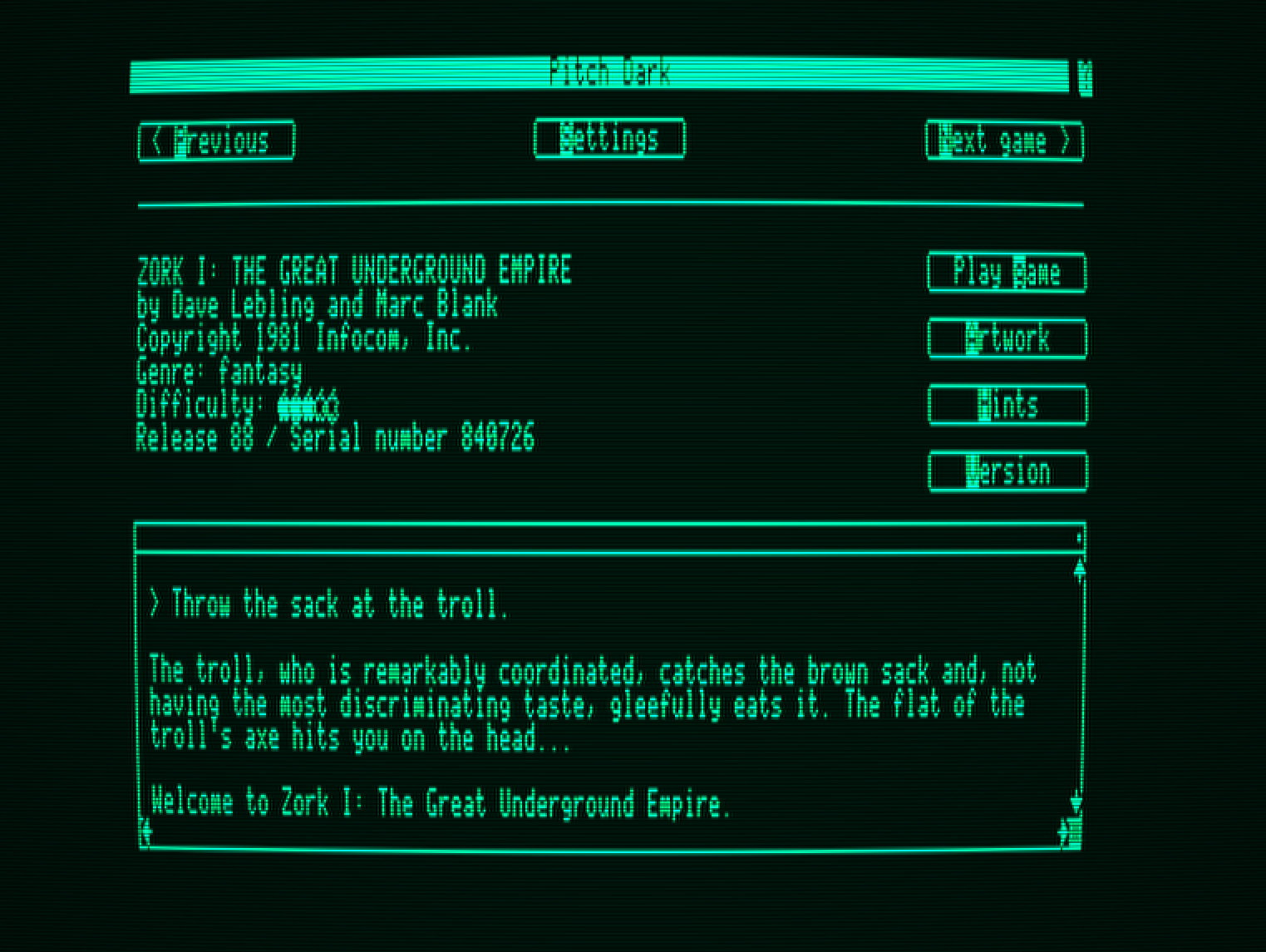 Pitch Dark - A Text Adventure Game Browser for the Apple II